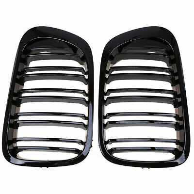 For 98-01 BMW E46 2 Door 2D Coupe Gloss Black Dual Slat Kidney Grille Grill 2pcs