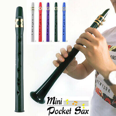 UK Mini Portable Pocket Bb Saxophone Sax Woodwind Instrument with Carrying Bag