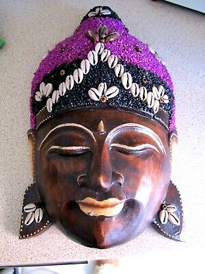 Lovely Hand Carved Wooden,Detailed Wall Mask,32 X 19 Cm,Vgc