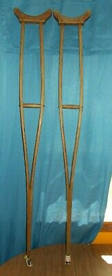 """Antique Wood Crutches Child Small Adult 46"""" Round Wood Shaft"""