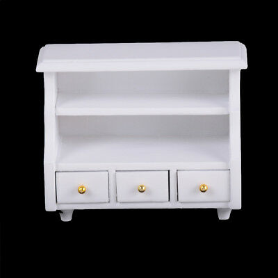 Dollhouse Miniature Furniture White Wooden Cabinet Cupboard For 1:12 Dollhous K~