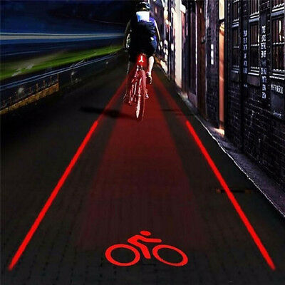 2 Laser 5 LED Lamp Light Rear Cycling Bicycle Bike Tail Safety Warning Red 2B~