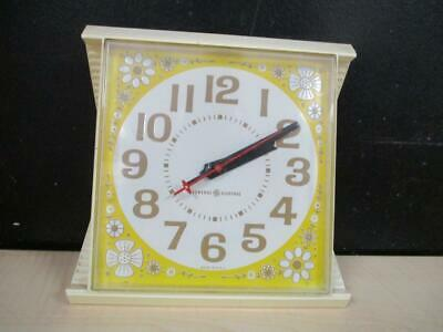 Vintage General Electric Wall Clock Retro Mod Yellow Daisy Mid Century Works!