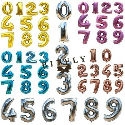 """Foil Helium Balloons Birthday Wedding Party Home Decor Number0-9 30""""40"""" 5 colors"""