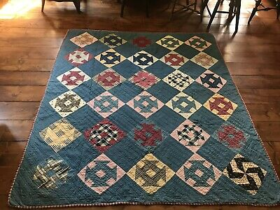 BEST Early Antique ALL BLUE BACK CALICO Quilt Textile AAFA Hand Sewn A+ Cond