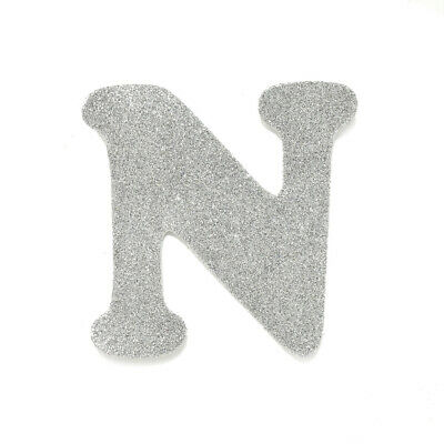 "EVA Glitter Foam Letter Cut Out ""N"", Silver, 4-1/2-Inch, 12-Count"