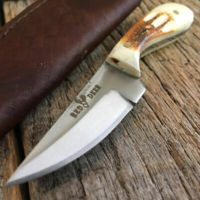 Burnt Bone Handle Fixed Blade Full Tang Hunting Bowie Straight Skinner Knife