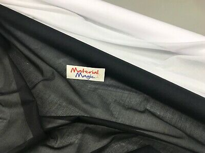 PREMIUM QUALITY iron on interfacing WOVEN 90CM WIDE WHITE/BLACK light  WEIGHT