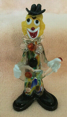 """Murano 9"""" Glass Clown with Guitar Multicolored Glass Made In Italy"""