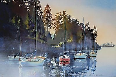 Kiff Holland Lithograph Sailboats At Anchor 1990's