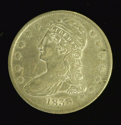 1838 Reeded Edge Capped Bust Silver Half Has Lustre    (7702)