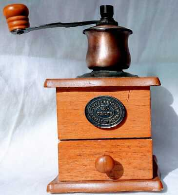 Antique Coffee Grinder Wooden Manual Vintage Hand Classic Style Cast Iron Grind