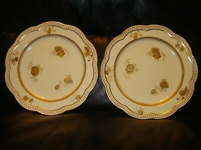 Victorian Early Pair Wedgwood Gold Gilded Floral Cabinet Display Plates 1880'S