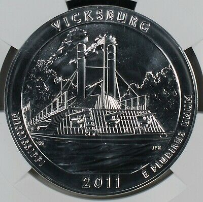 2011 NGC MS69DPL Early Releases 5oz Silver 25C Vicksburg Item#M5254