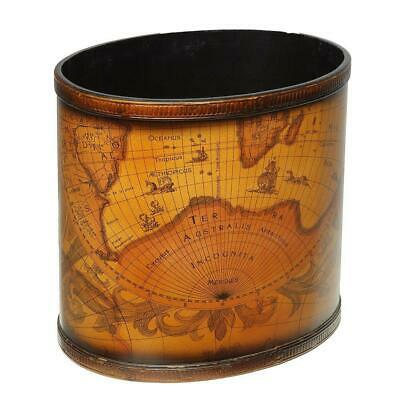 Antique Wastepaper Bin with Historical World Map, Wastepaper Bin in Retro Style