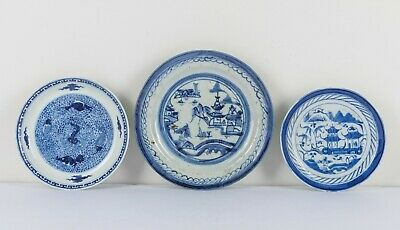 A Group Of Three Chinese Antique Ching Dynasty Blue And White Dishes