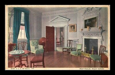 Dr Jim Stamps Us West Parlor Mount Vernon Interior View Postcard Virginia