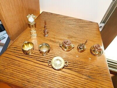 England Metal Dollhouse Miniatures Grandfather Clock Kettles Vintage