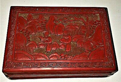 Fine Antique Chinese Genuine Red Cinnabar Lacquer Box / Figures Signed