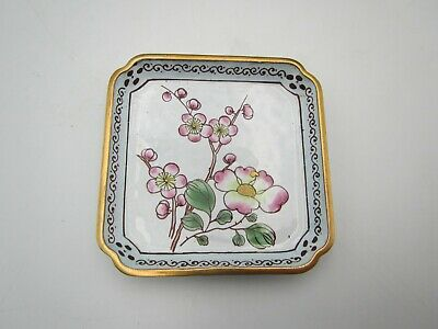 Vintage Chinese Small Hand Painted Flowers Enamel Pin Dish