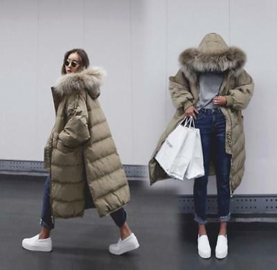 Womens Down Cotton Coat Winter Warm Big Fur Hooded Puffer Loose Parka Jacket New