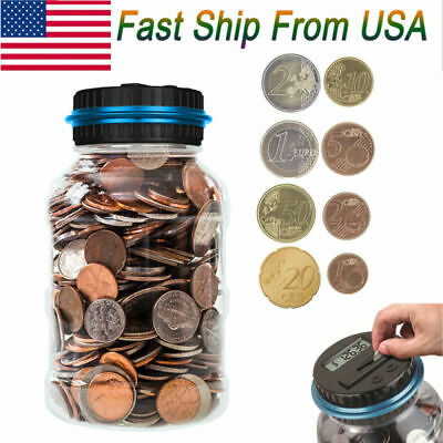 Clear Digital Coin Counting Money Box Jar Automatic LCD Display Piggy Bank Gift