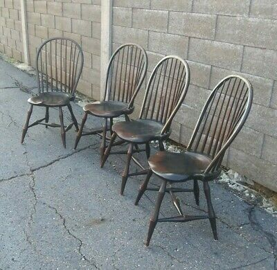 Set of 4 Vintage River Bend Windsor Fan back Colonial Chairs we ship