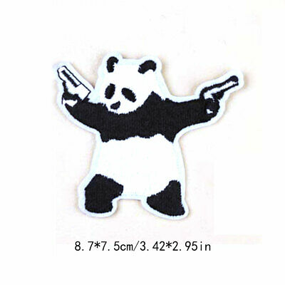 China Panda Animal Iron On Patches Embroidery Clothing Humor Funny Crafts DIY