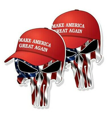 "TRUMP PUNISHER STICKERS Waving American Flag MAGA Hat Decals 3"" tall 2-pack"