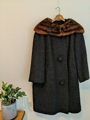 Vintage 1950s Berroco Stanley Wool and Fur Coat size 10-14