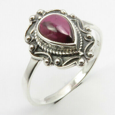 Garnet Antique Look Ring Size 11 925 Pure Sterling Silver Gemstone Jewelry