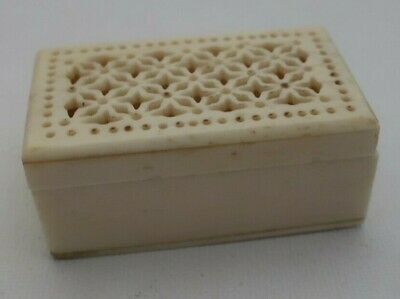 vintage hand carved bovine bone BOX asian cricket Insect CAGE with pierced lid