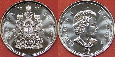 Brilliant Uncirculated 2011 Canada 50 Cents From Mint's Roll