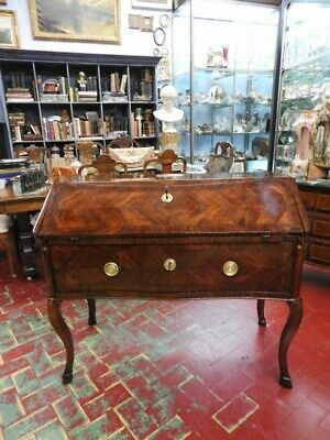 Important Antique Ribalta Del 700 Louis XV Rosewood Large Cabinet Work