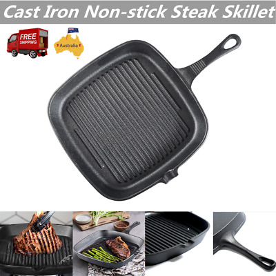 CAST IRON SQUARE GRILL FRYING PAN SKILLET BLACK HEAVY DUTY for BBQ AU Stock