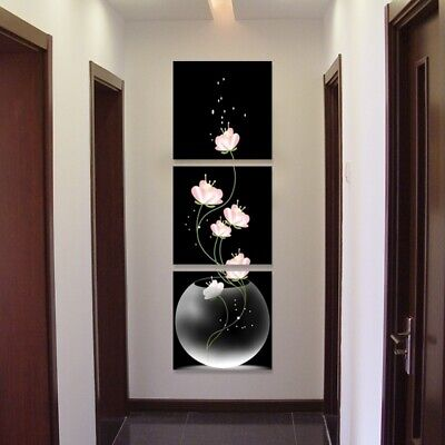 3pcs Wall Art Vase with Flowers Artwork Canvas Material Porch Corridor Version