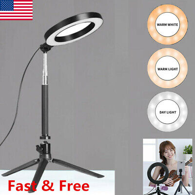 LED Ring Light Video Studio Photo Tripod Stand Selfie Camera Phone Fill Light US