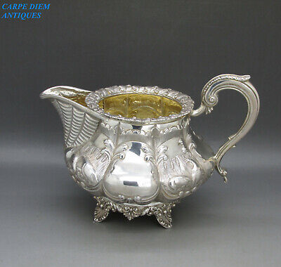 ANTIQUE VICTORIAN SUPERB SOLID STERLING SILVER EMBOSSED CREAM JUG 300g LON 1842