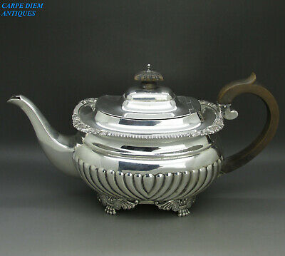 ANTIQUE GEORGIAN STYLE GOOD HEAVY SOLID STERLING SILVER TEAPOT 725g LONDON 1903
