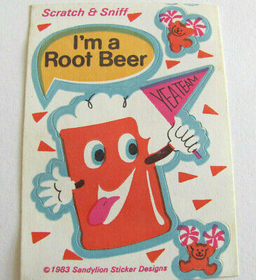 Rare Vintage Sandylion Scratch and Sniff Root Beer Rootbeer Bear Sticker Mod