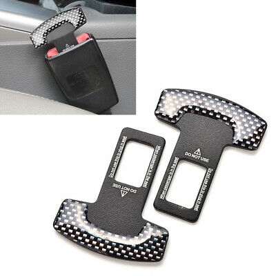 2X Universal Car Safety Seat Belt Buckle Alarm Stopper Clip Carbon Fiber Look