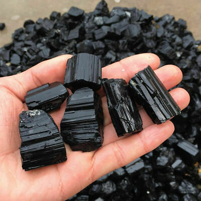 Natural Black Tourmaline Crystal Rough Rock Mineral Specimen Raw Healing Stones