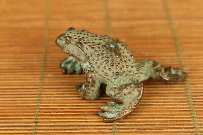 rare chinese old bronze hand carved frog jin chan statue figure collect gift