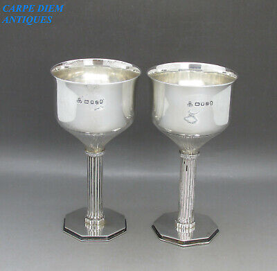 VINTAGE STUNNING PAIR SOLID STERLING SILVER WINE GOBLETS 340g W&W LONDON 1977