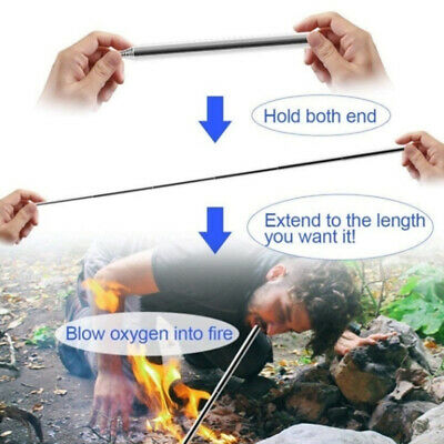 Outdoor Stainless Bellow Collapsible Fire Tool Camping Survival Blow Fire Tube