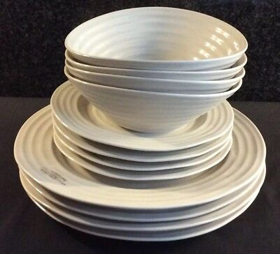 "Sophie Conran Portmeirion 12 Piece Set Dinner 8"" Plates Cereal Bowl PEBBLE"