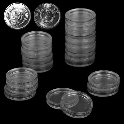 20pc18mm Applied Clear Round Cases Coin Storage Capsules Holder Round PlastAS