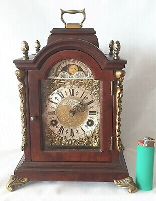 Warmink Mantel Clock Pendulum Dutch Shelf Moonphase Bell Strike 8 Day Key Wind