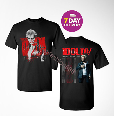 Billy Idol T Shirt 2019 Concert Tour Black Men's T-shirt Size S-3XL.