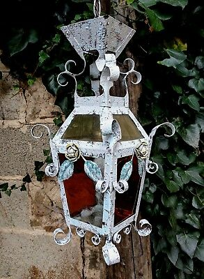 Unique Vintage French Wrought Iron Ceiling Lantern Light with Tole Ware Roses